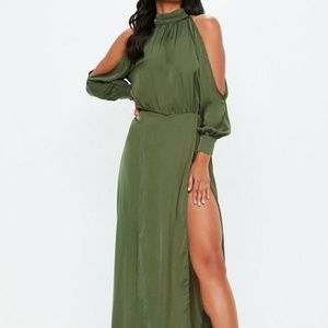 Missguided Khaki Split Front Satin Maxi Dress